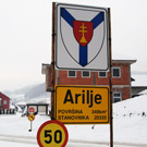 Application of basic arms - sign at the entrance in Arilje