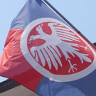 Flag of Despotovac in use on municipal building.