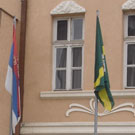 Flags in front of municipal building in Knja�evac