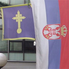 Flags in front of Vra�ar civic municipality