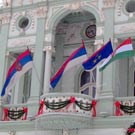Flags in front of Zrenjanin city assembly